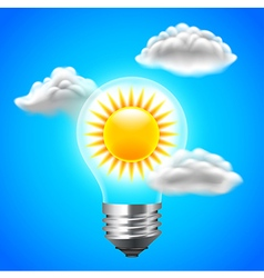 Sun inside light bulb energy concept blue sky vector