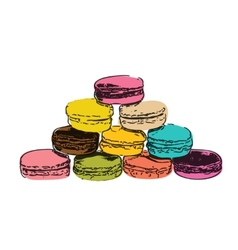 Sweet Tasty Drawn Macaroons Isolated on White vector image