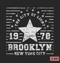 T-shirt print design brooklyn star vintage stamp vector