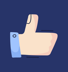 thumb up sign isolated on background cartoon hand vector image