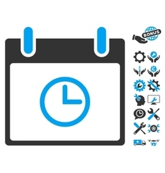 Time Calendar Day Icon With Bonus vector image