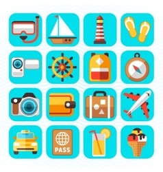 Travel tourism and vacation flat icons vector