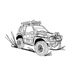Tuned SUV car sketch for your design vector image