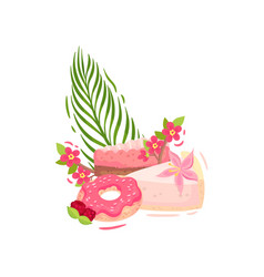Two pieces cake with a donut in a pink icing vector