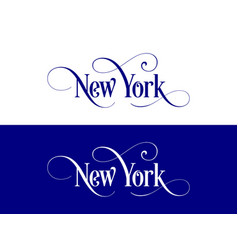 typography of the usa new york states handwritten vector image