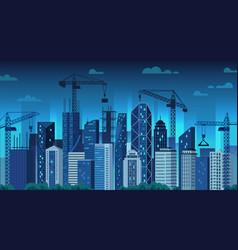 urban development night construction cranes vector image