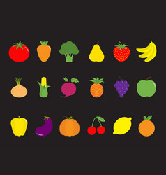 vegetable fruit berry icon set pear strawberry vector image