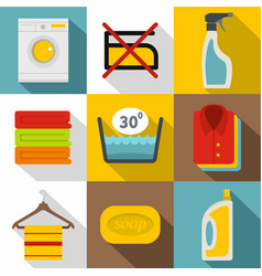 washing colorful clothes icons set flat style vector image