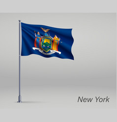 waving flag new york - state united states vector image