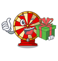 With gift spinning wheel beside wooden cartoon vector