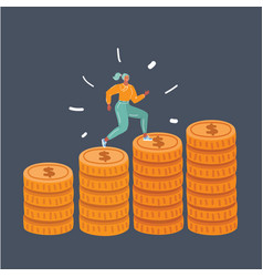 woman run up coins on stack coins on dark vector image