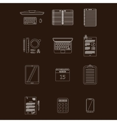 Work table icons stroke vector image