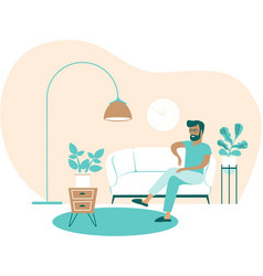 Young man sitting at home vector