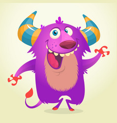 Cute cartoon violet horned and fluffy troll vector