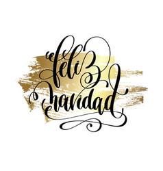 Feliz navidad - merry christmas spanish hand vector