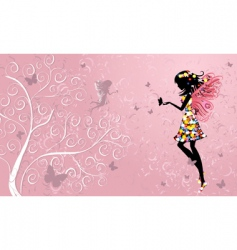 flower fairy near patterned wood vector image
