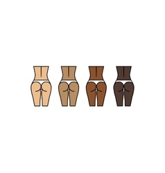 Healthy woman buttocks and backs Different skin vector image vector image