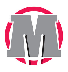 logotype with letter m and drum sticks vector image vector image