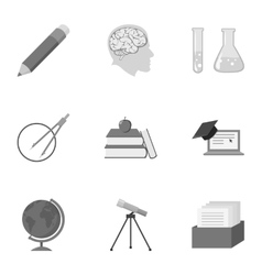 School set icons in monochrome style Big vector image
