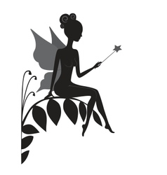 Silhouette of magic fairy vector image vector image