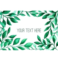 Watercolor green leaves frame for wedding and vector image vector image