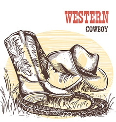 American cowboy boots and west hat vector image vector image