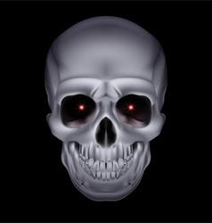 Chrome metal mysterious dark skull 01 vector image
