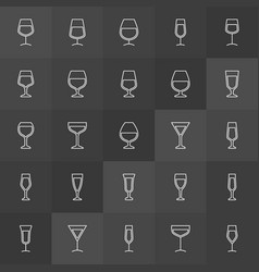 cocktail and wine glass icons vector image vector image
