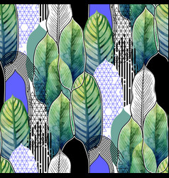 combined exotic leaves pattern vector image