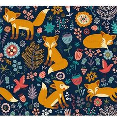 Foxy pattern dark vector image vector image