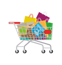 full shopping trolley with different purchases vector image