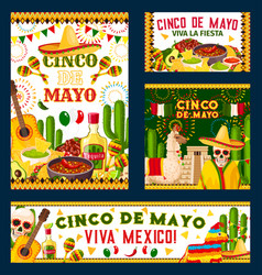 Cinco de mayo mexican fiesta party poster design vector
