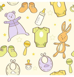 Cute hand drawn baby background vector image vector image