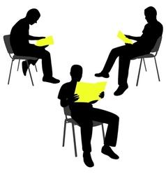 man reading newspaper vector image vector image