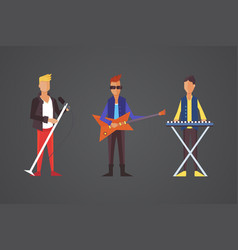 Pop singer flat isolated rock vector