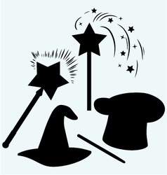 Set magic hat with magic wand sparkles vector image vector image
