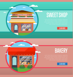sweet and bakery shop banner set vector image