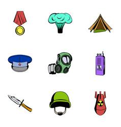 war icons set cartoon style vector image vector image