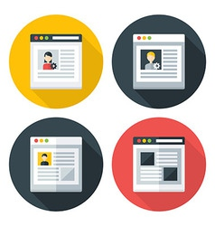 Web page flat circle icons set vector