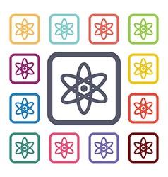 atom flat icons set vector image