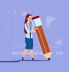 business woman holding big pencil writing office vector image