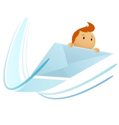 cartoon flying envelop with character vector image vector image