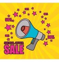 cartoon megaphone special offer sale pink star vector image