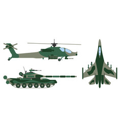 fighter aircraft tank helicopter military set vector image vector image