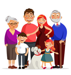 happy family standing together hugging smiling vector image