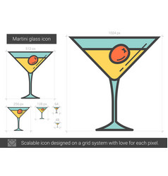 martini glass line icon vector image vector image