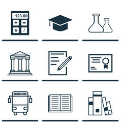 Set of 9 education icons includes transport vector