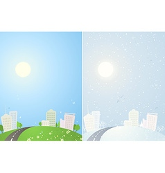 Summer and winter city backgrounds vector image