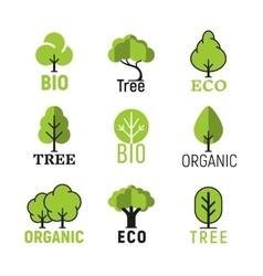tree organic eco bio logo set vector image