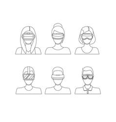 virtual reality glasses avatars thin line set vector image
